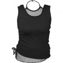 Canottiera donna GOTHIC ROCK - 2in1 Neck Tie Mesh Top Black